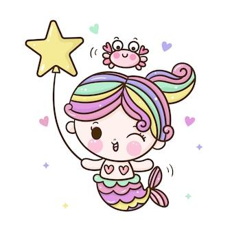 Desenho de sereia fofo com caranguejo e balão no estilo kawaii