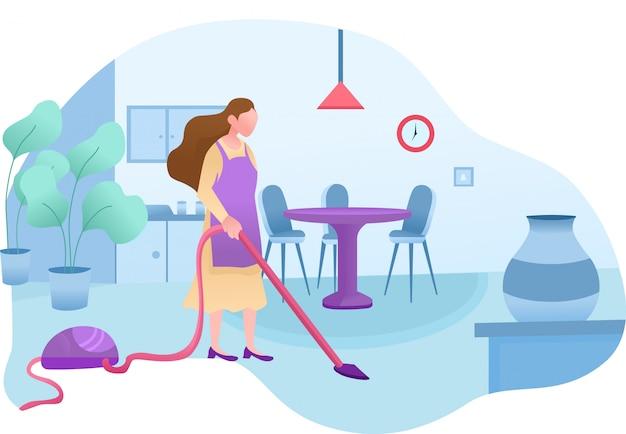 Desenho de serviço de limpeza doméstica