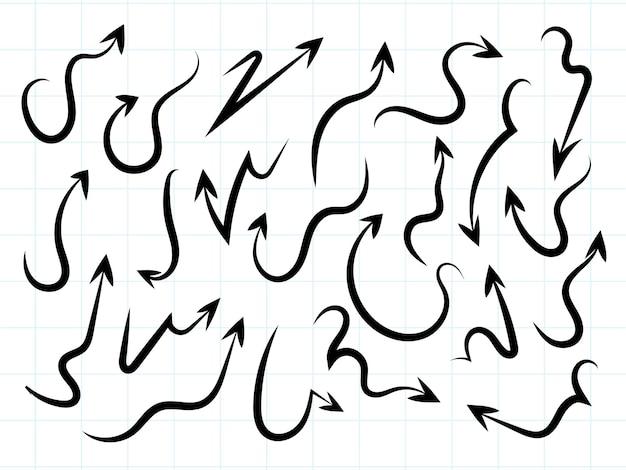 Desenho de seta moderna desenhada à mão definir vetor