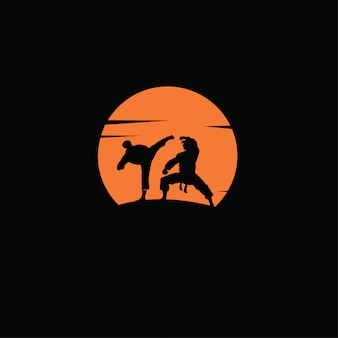 Desenho de silhueta de luta