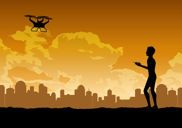 Desenho de silhueta do homem está jogando drone