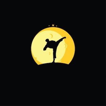 Desenho de silhuetas de karate boys