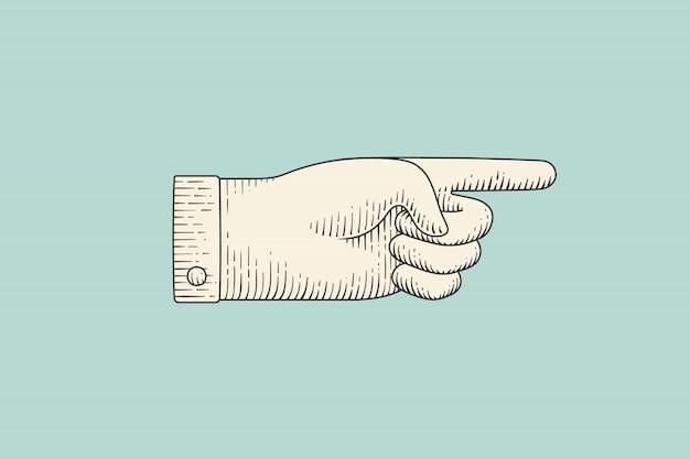 Desenho de sinal de mão com o dedo apontando no estilo de gravura