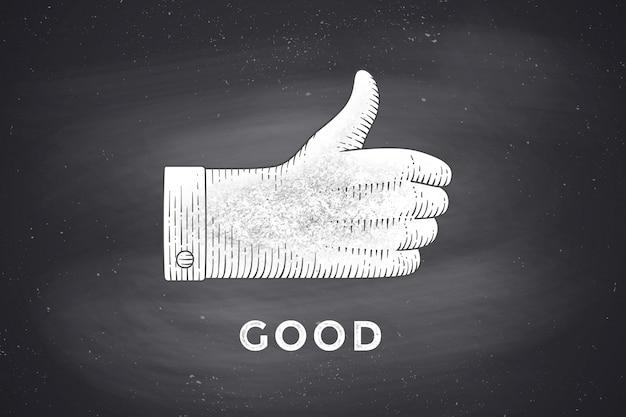 Desenho de sinal de mão com polegares para cima em estilo de gravura