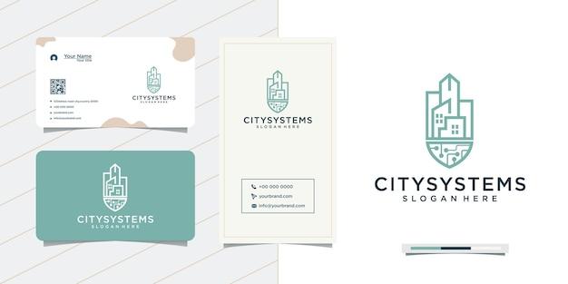 Desenho de sistema urbano e desenho de cartão de visita