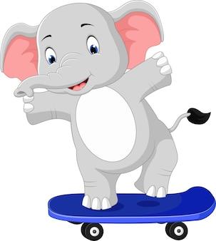 Desenho de skate de elefante fofo