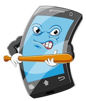 Desenho de smartphone segurando o taco de beisebol de madeira da ilustração