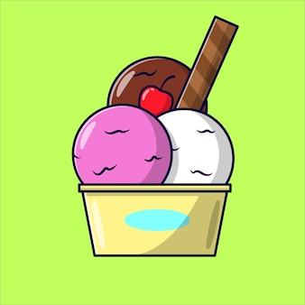 Desenho de sorvete rosa, branco e de chocolate em fundo verde brilhante