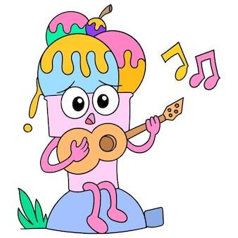 Desenho de sorvete tocando música na guitarra, desenho de desenho de personagem bonito. ilustração vetorial
