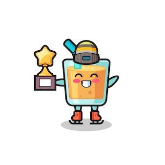 Desenho de suco de laranja como jogador de patinação no gelo segura troféu de vencedor, design de estilo fofo para camiseta, adesivo, elemento de logotipo