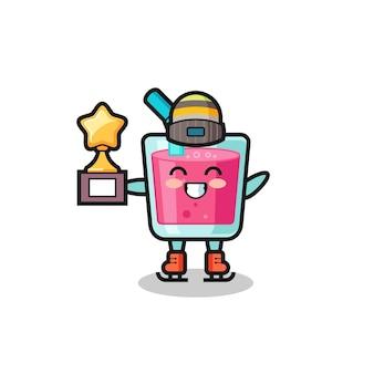 Desenho de suco de morango como um jogador de patinação no gelo segurando troféu de vencedor, design de estilo fofo para camiseta, adesivo, elemento de logotipo