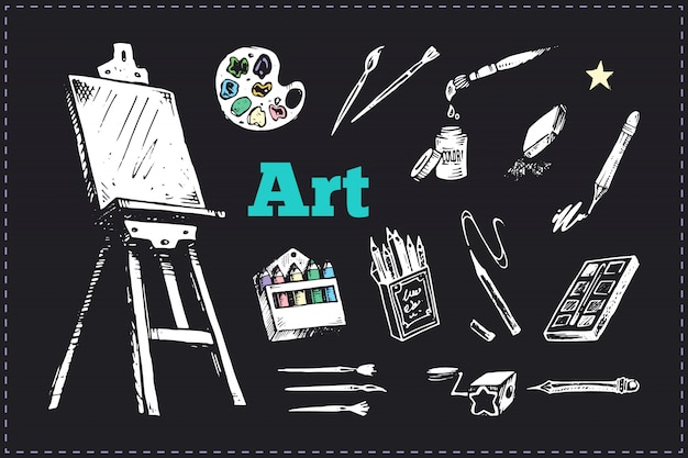 Desenho de suprimentos ou ferramentas para conjunto de artistas