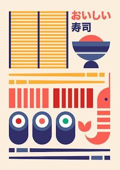 Desenho de sushi em poster vintage geométrico