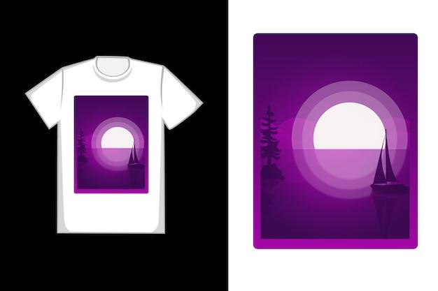 Desenho de t-shirt com desenho à mão de lua cheia