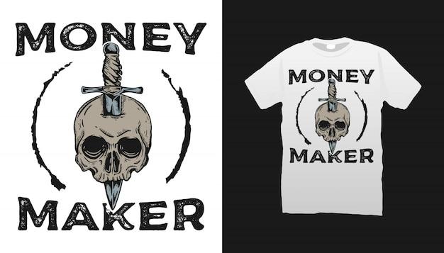 Desenho de t-shirt com ilustração de crânio e faca