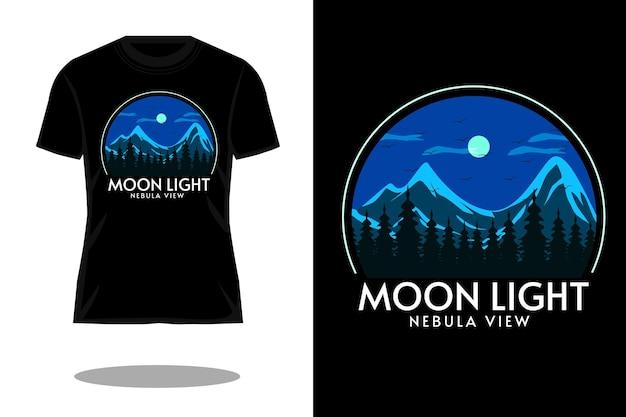 Desenho de t-shirt com silhueta à luz da lua