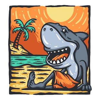 Desenho de t-shirt de tubarão de desenho animado