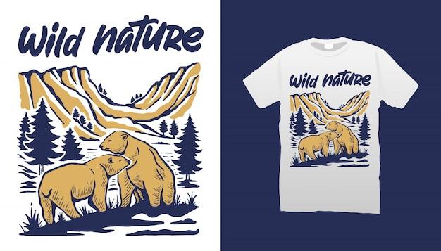Desenho de t-shirt de ursos da natureza selvagem
