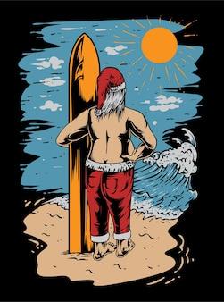Desenho de t-shirt do vetor da ilustração das ondas do verão do papai noel