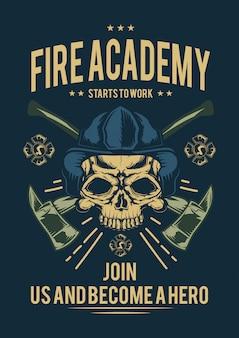 Desenho de t-shirt ou cartaz com ilustração de bombeiro com machados.