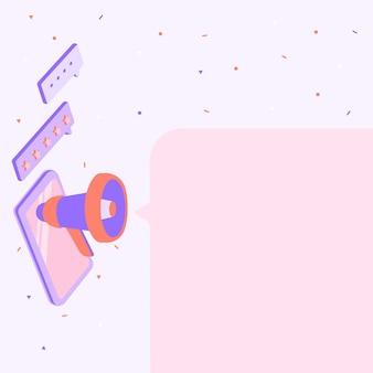 Desenho de tablet com megafone fazendo novo anúncio para um desenho de dispositivo móvel de caixa de bate-papo