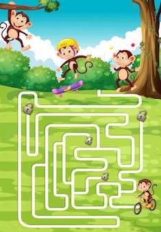 Desenho de tabuleiro com macacos no fundo