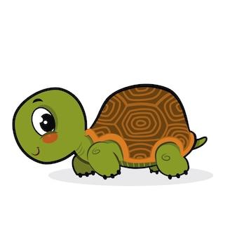 Desenho de tartaruga bonito isolado no fundo branco
