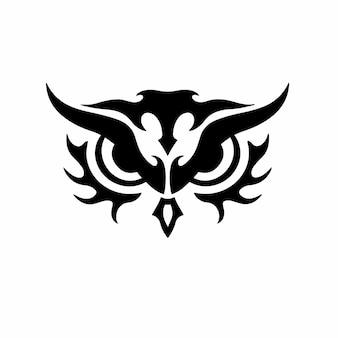 Desenho de tatuagem de logotipo de cabeça de coruja tribal estêncil ilustração vetorial