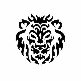 Desenho de tatuagem de logotipo de cabeça de leão tribal ilustração vetorial de estêncil