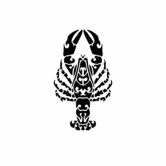 Desenho de tatuagem de logotipo de lagosta tribal ilustração vetorial de estêncil