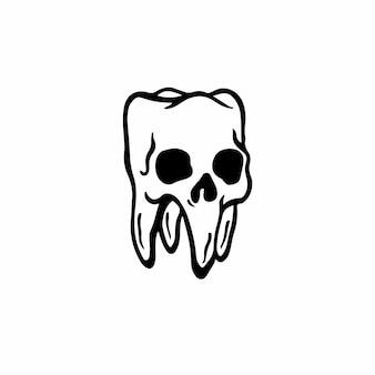 Desenho de tatuagem de símbolo de crânio de dente ilustração vetorial