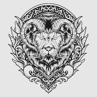 Desenho de tatuagem e camiseta com ornamento de leão com chifres