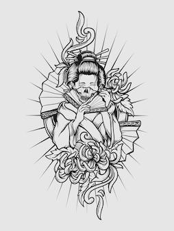 Desenho de tatuagem e camiseta de gueixa ornamento de gravura de crânio