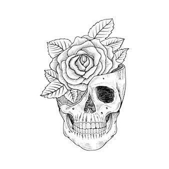 Desenho de tatuagem e camiseta design crânio e rosa premium