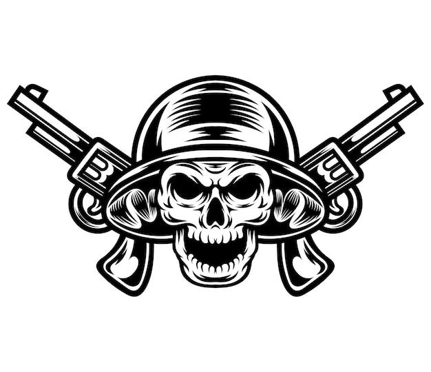 Desenho de tatuagem e camiseta em preto e branco ilustração do assassino do crânio