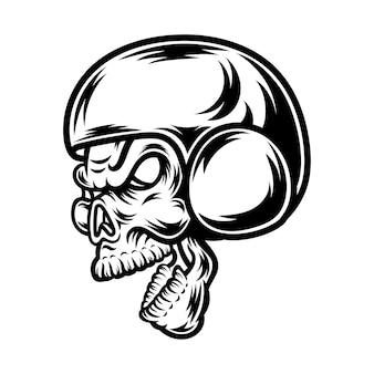 Desenho de tatuagem e camiseta em preto e branco ilustração do crânio