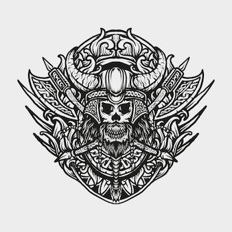 Desenho de tatuagem e camiseta ornamento de gravura de crânio de viking