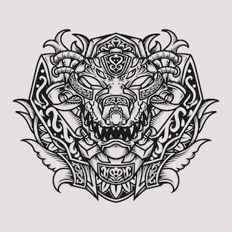 Desenho de tatuagem e camiseta preto e branco ilustração desenhada à mão crocodilo cabeça de gravura ornamento