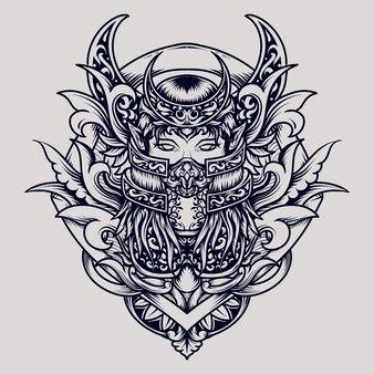 Desenho de tatuagem e camiseta rainha do ornamento de gravura da lua