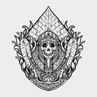 Desenho de tatuagem e camiseta rei egípcio ornamento de gravura de crânio