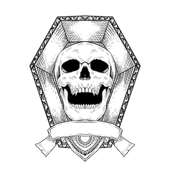 Desenho de tatuagem mão desenhada cabeça de crânio em caixão linha arte preto e branco isolado