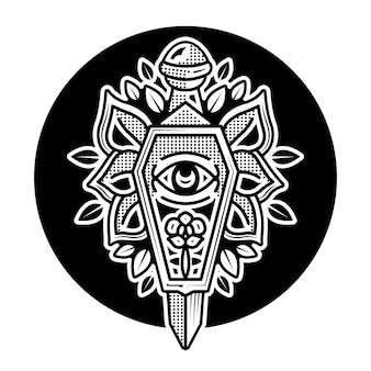 Desenho de tatuagem preta com caixão e punhal