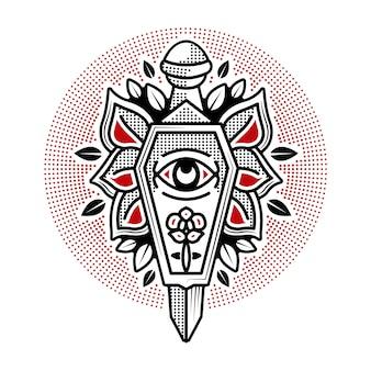 Desenho de tatuagem tradicional de caixão e punhal