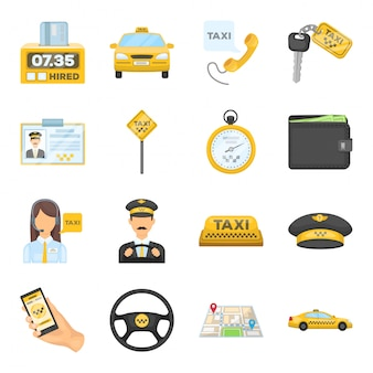 Desenho de táxi definir ícone. serviço de transporte de ilustração. desenhos animados isolados definir ícone táxi.