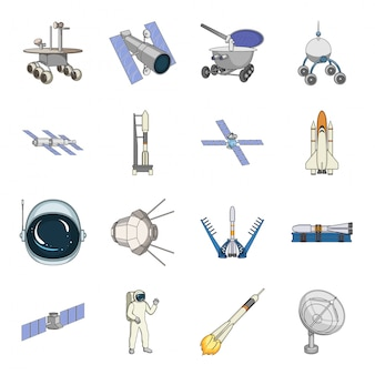Desenho de tecnologia espacial definir ícone. desenhos animados isolados definir ícone astronauta do universo. tecnologia espacial .