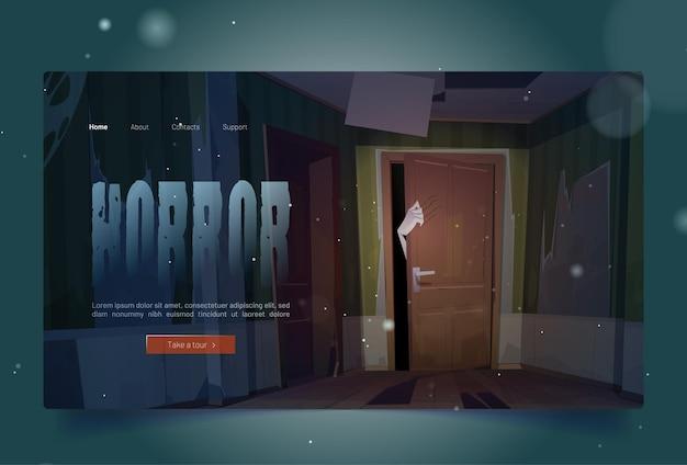 Desenho de terror aterrissando com a mão arrepiante e arranhando a porta