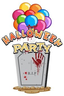Desenho de texto da festa de halloween com lápide