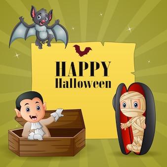 Desenho de texto de halloween com múmia e vampiro