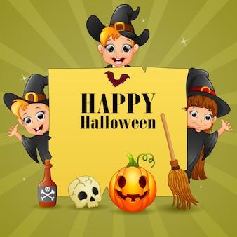 Desenho de texto de halloween com três bruxas em cartaz