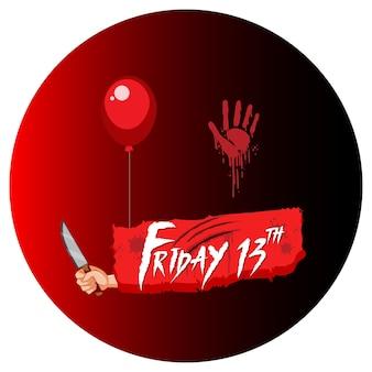 Desenho de texto de sexta-feira, 13 de halloween